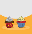 two hand drawn cupcake vector image vector image