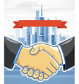 Two men shake hands Presentation template vector image vector image