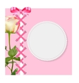 Vintage Frame with Bow Ribbon and Rose Folwer vector image