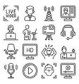 vlogging video production and stream icons set vector image
