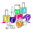 with nail polish bottles vector image