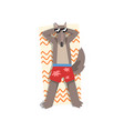 wolf in sunglasses sunbathing on the beach cute vector image vector image