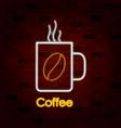hot coffee mug on neon sign on brick wall vector image
