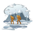 active couple hiking to nature with mountain vector image