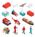 arctic polar station isometric set vector image vector image