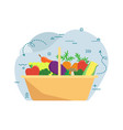 basket with autumn harvest vector image