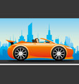beautiful woman in a red car vector image vector image