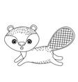 beaver cute wildlife icon vector image vector image