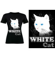 black t-shirt design with white cat vector image vector image