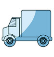 blue shading silhouette of truck with wagon vector image
