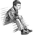 boy on bench vector image