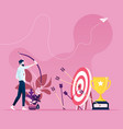 businessman hitting target with a bow vector image vector image