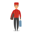 cartoon style of hotel bellboy vector image vector image