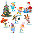 christmas carnival party cartoon children vector image vector image
