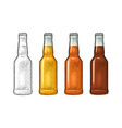 close bottle with three types beer vintage color vector image vector image