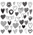 collection of hand drawn hearts in sketch vector image