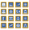 columbus day icons set blue vector image vector image