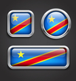 Congo flag glass buttons vector image vector image