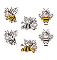 cow bee cartoon mascot set bundle character vector image vector image