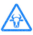 cow danger icon grunge watermark vector image vector image