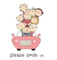 cute baanimal with car cartoon hand drawn vector image vector image