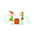 cute cartoon leprechauns dancing vector image vector image