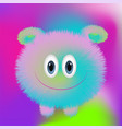 cute fluffy monster on bright background in trends vector image vector image
