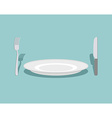 Cutlery knife and fork plate On a green background