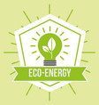 eco energy green bulb light plant emblem vector image vector image