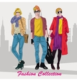 Fashion girl and boy in sketch-style vector image vector image