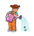 girl watering can watering a flower vector image vector image