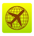 globe and plane travel sign brown icon at vector image