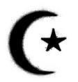 graffiti muslim symbol sprayed in black over white