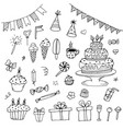 hand drawn birthday doodles vector image vector image