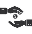 hand human with coin vector image