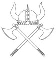 horned viking helmet with axes vector image