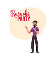 karaoke party contest banner poster postcard vector image vector image