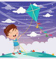 kid playing kite vector image vector image