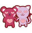 line color enamored bear and cat couple animals vector image vector image