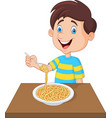 little boy eating spaghetti vector image vector image