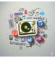 Music and entertainment collage with icons vector image vector image