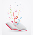open book with ribbon and confetti vector image vector image