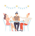 people celebrating birthday eating desserts and vector image vector image