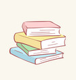 pile stack books hand drawn style doodle vector image