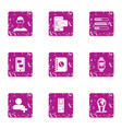 recorded document icons set grunge style vector image