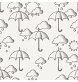 seamless pattern with umbrellas in the rain vector image