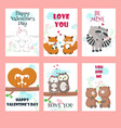 set of cards with cute animals couples vector image vector image
