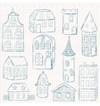 Set of doodle houses on checkered page vector image vector image