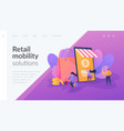 smart retail in smart city landing page template vector image vector image