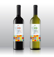 stylish red and white wine labels set on the vector image
